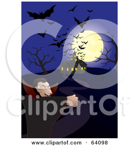 Royalty-Free (RF) Clipart Illustration of Silhouetted Bats And A Full Moon Over A Haunted House And A Vampire On A Blue Night by Paulo Resende
