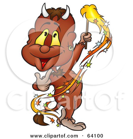 Royalty-Free (RF) Clipart Illustration of a Happy Devil Waving A Sparkler by dero