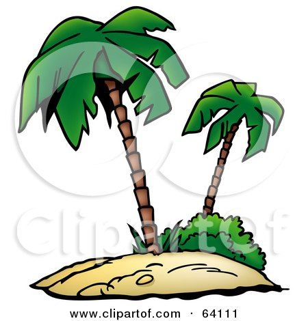 Royalty-Free (RF) Clipart Illustration of a Tropical Sandy Island With Two Palm Trees by dero