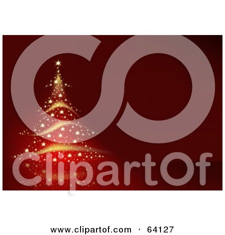 Royalty-Free (RF) Clipart Illustration of a Golden Sparkle Christmas Tree On A Red Background by dero