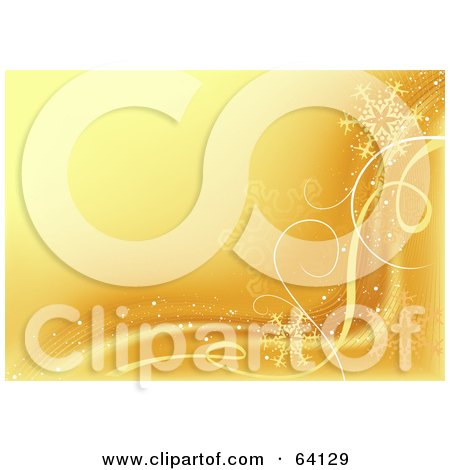 Royalty-Free (RF) Clipart Illustration of a Golden Snowflake Wave Background by dero