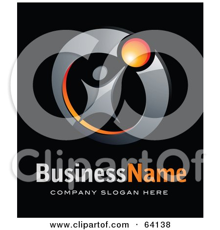 Royalty-Free (RF) Clipart Illustration of a Pre-Made Logo Of A Successful Person, Above Space For A Business Name And Company Slogan On Black by beboy