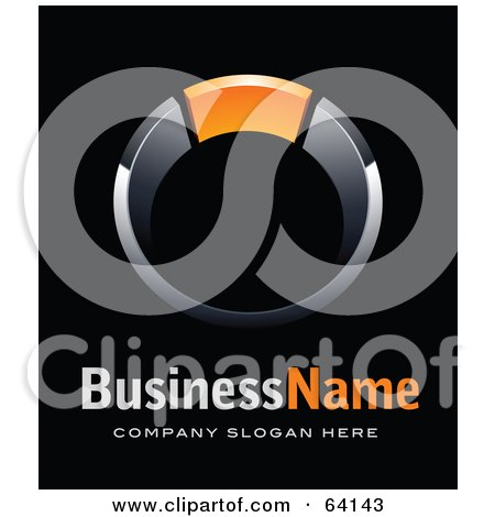 Royalty-Free (RF) Clipart Illustration of a Pre-Made Logo Of A Ring With Orange, Above Space For A Business Name And Company Slogan On Black by beboy