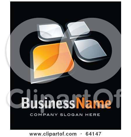 Royalty-Free (RF) Clipart Illustration of a Pre-Made Logo Of Orange And Chrome Windows, Above Space For A Business Name And Company Slogan On Black by beboy