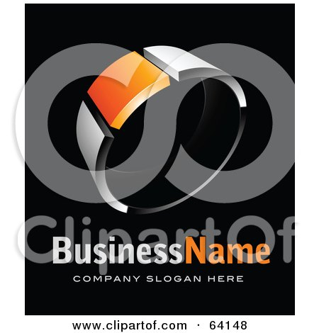 Royalty-Free (RF) Clipart Illustration of a Pre-Made Logo Of A Chrome And Orange Ring, Above Space For A Business Name And Company Slogan On Black by beboy