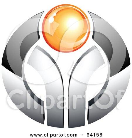 Pre-Made Logo Of An Orange Orb On Chrome Posters, Art Prints