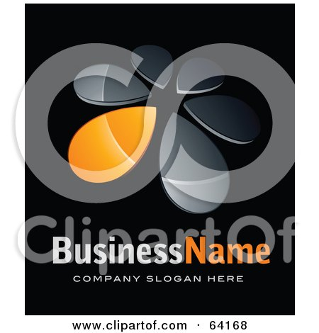 Royalty-Free (RF) Clipart Illustration of a Pre-Made Logo Of An Orange Windmill Or Petals, Above Space For A Business Name And Company Slogan On Black by beboy