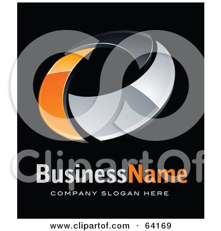 Royalty-Free (RF) Clipart Illustration of a Pre-Made Logo Of An Orange And Chrome Circling Ring, Above Space For A Business Name And Company Slogan On Black by beboy