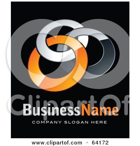 Royalty-Free (RF) Clipart Illustration of a Pre-Made Logo Of Three Orange and Chrome Rings, Above Space For A Business Name And Company Slogan On Black by beboy