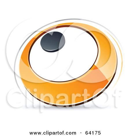 Royalty-Free (RF) Clipart Illustration of a Pre-Made Logo Of An Orange Circle With A Black Dot by beboy