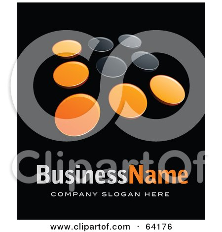 Royalty-Free (RF) Clipart Illustration of a Pre-Made Logo Of Orange And Black Dots, Above Space For A Business Name And Company Slogan On Black by beboy