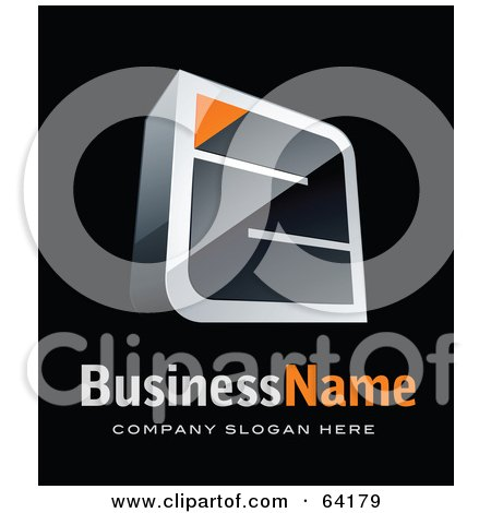 Royalty-Free (RF) Clipart Illustration of a Pre-Made Logo Of An Orange And Black Maze, Above Space For A Business Name And Company Slogan On Black by beboy
