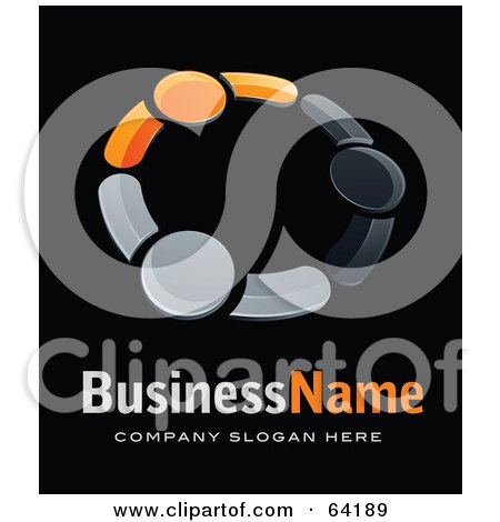 Royalty-Free (RF) Clipart Illustration of a Pre-Made Logo Of Gray And Orange People Holding Hands, Above Space For A Business Name And Company Slogan On Black by beboy