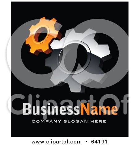 Royalty-Free (RF) Clipart Illustration of a Pre-Made Logo Of Orange And Chrome Cogs, Above Space For A Business Name And Company Slogan On Black by beboy
