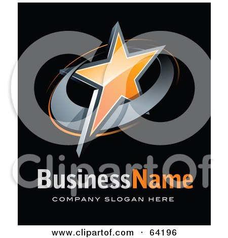 Royalty-Free (RF) Clipart Illustration of a Pre-Made Logo Of An Orange Star, Above Space For A Business Name And Company Slogan On Black by beboy