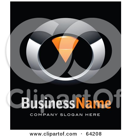 Royalty-Free (RF) Clipart Illustration of a Pre-Made Logo Of A Chrome And Orange Dial Pointing Down, Above Space For A Business Name And Company Slogan On Black by beboy