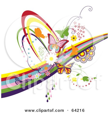 Royalty-Free (RF) Clipart Illustration of a Background Of Colorful Butterflies, Circles, Swooshes And Rainbows, On White by Eugene