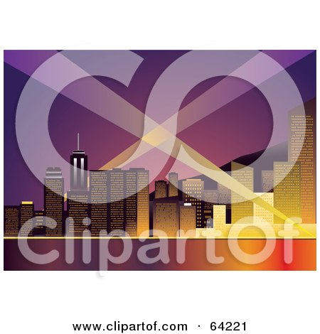 Royalty Free RF Clipart Illustration Of A Lights Shining In The Sky Around A Waterfront City At Dusk