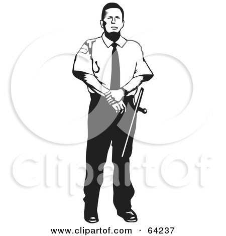 Royalty-Free (RF) Clipart Illustration of a Black And White Security Guard Man Standing by David Rey