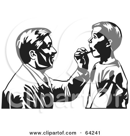 Royalty-Free (RF) Clipart Illustration of a Black And White Male Doctor Kneeling To Check A Boy's Mouth by David Rey