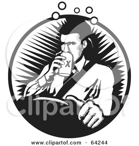 Royalty-Free (RF) Clipart Illustration of a Black And White Drunk Driver Man Drinking A Beer by David Rey