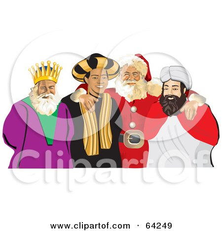 Royalty-Free (RF) Clipart Illustration of Santa Standing With His Arms Around The Three Wise Men by David Rey