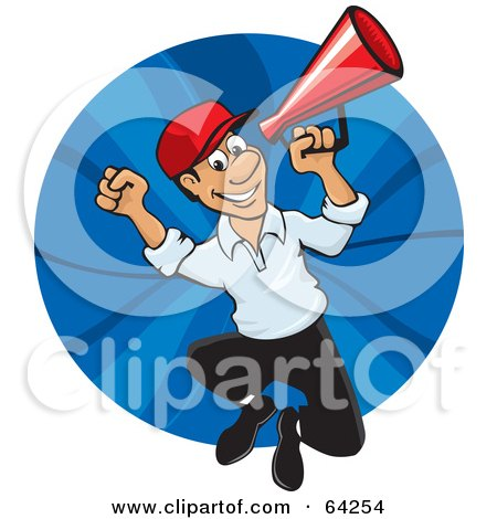 Royalty-Free (RF) Clipart Illustration of an Energetic Announcer Man Running With A Megaphone by David Rey