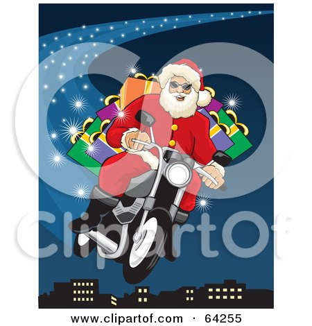 Royalty-Free (RF) Clipart Illustration of Santa Flying His Motorcycle Through The Blue Christmas Night Sky Above A City by David Rey
