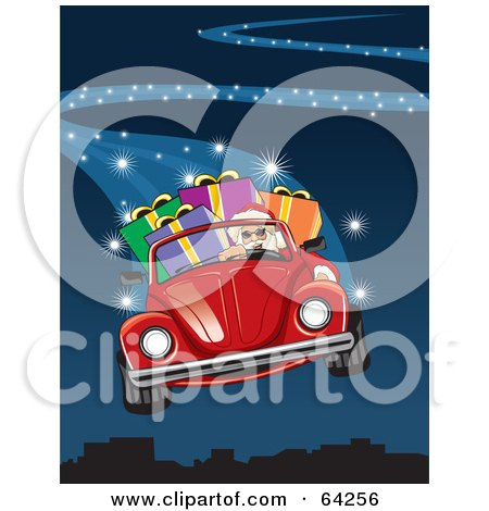 Royalty-Free (RF) Clipart Illustration of Santa Flying His Red Convertible Vw Bug Through The Blue Christmas Night Sky by David Rey