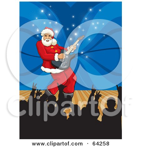 Royalty-Free (RF) Clipart Illustration of Santa Playing A Guitar On A Stage, With Silhouetted Fans Holding Up Their Hands by David Rey