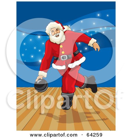 Royalty-Free (RF) Clipart Illustration of Santa Bowling In An Alley, With Blue Sparkles In The Background by David Rey