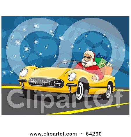 Royalty-Free (RF) Clipart Illustration of Santa Driving His Convertible Yellow Car With Christmas Presents In The Back by David Rey