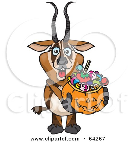 Royalty-Free (RF) Clipart Illustration of a Trick Or Treating Gazelle Holding A Pumpkin Basket Full Of Halloween Candy by Dennis Holmes Designs
