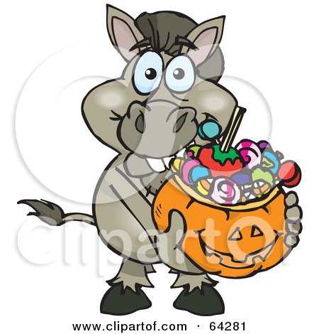 Royalty-Free (RF) Clipart Illustration of a Trick Or Treating Donkey Holding A Pumpkin Basket Full Of Halloween Candy by Dennis Holmes Designs
