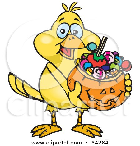 Royalty-Free (RF) Clipart Illustration of a Trick Or Treating Canary Holding A Pumpkin Basket Full Of Halloween Candy by Dennis Holmes Designs