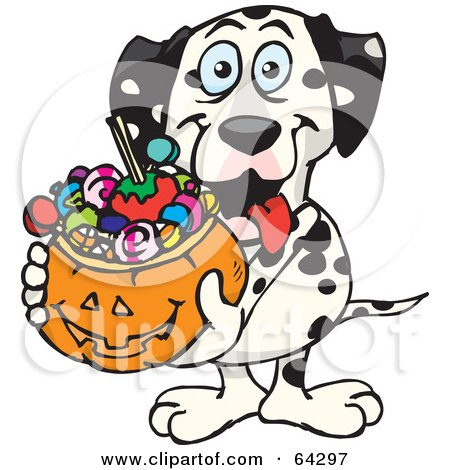 Royalty-Free (RF) Clipart Illustration of a Trick Or Treating Dalmatian Holding A Pumpkin Basket Full Of Halloween Candy by Dennis Holmes Designs