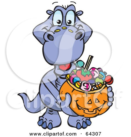 Royalty-Free (RF) Clipart Illustration of a Trick Or Treating Dino Holding A Pumpkin Basket Full Of Halloween Candy by Dennis Holmes Designs