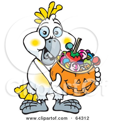 Royalty-Free (RF) Clipart Illustration of a Trick Or Treating Cockatoo Holding A Pumpkin Basket Full Of Halloween Candy by Dennis Holmes Designs