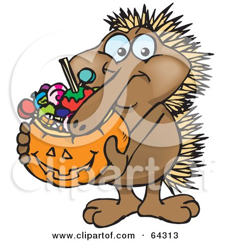Royalty-Free (RF) Clipart Illustration of a Trick Or Treating Echidna Holding A Pumpkin Basket Full Of Halloween Candy by Dennis Holmes Designs