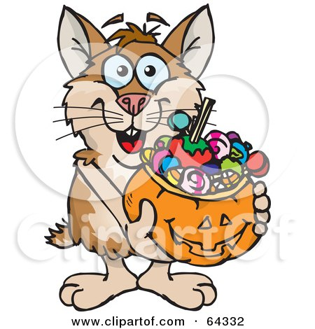 Royalty-Free (RF) Clipart Illustration of a Trick Or Treating Hamster Holding A Pumpkin Basket Full Of Halloween Candy by Dennis Holmes Designs