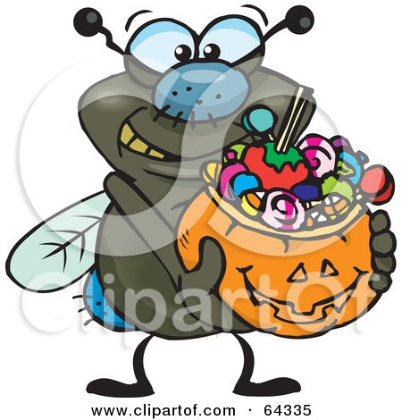 Royalty-Free (RF) Clipart Illustration of a Trick Or Treating Fly Holding A Pumpkin Basket Full Of Halloween Candy by Dennis Holmes Designs