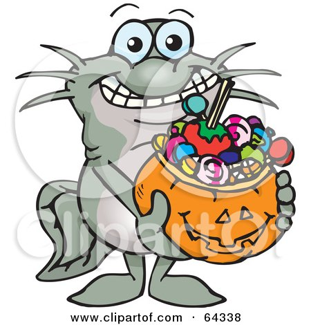 Royalty-Free (RF) Clipart Illustration of a Trick Or Treating Catfish Holding A Pumpkin Basket Full Of Halloween Candy by Dennis Holmes Designs