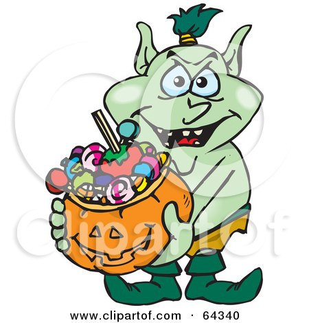 Royalty-Free (RF) Clipart Illustration of a Trick Or Treating Goblin Holding A Pumpkin Basket Full Of Halloween Candy by Dennis Holmes Designs