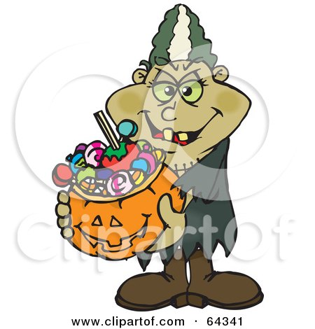 Royalty-Free (RF) Clipart Illustration of a Trick Or Treating Bride of Frankenstein Holding A Pumpkin Basket Full Of Halloween Candy by Dennis Holmes Designs