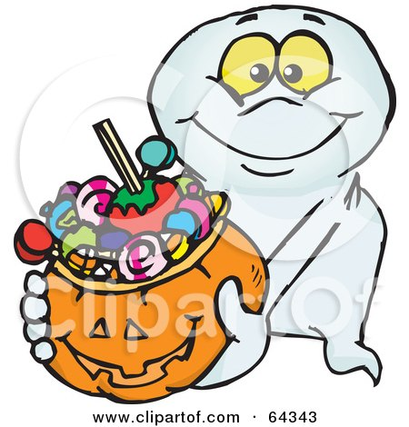 Royalty-Free (RF) Clipart Illustration of a Trick Or Treating Friendly Ghost Holding A Pumpkin Basket Full Of Halloween Candy by Dennis Holmes Designs