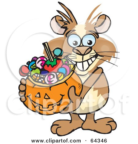 Royalty-Free (RF) Clipart Illustration of a Trick Or Treating Guinea Pig Holding A Pumpkin Basket Full Of Halloween Candy