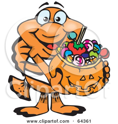 Royalty-Free (RF) Clipart Illustration of a Trick Or Treating Clownfish Holding A Pumpkin Basket Full Of Halloween Candy by Dennis Holmes Designs