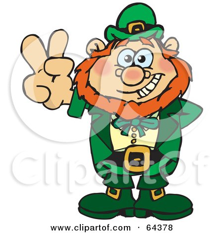 Royalty-Free (RF) Clipart Illustration of a Peaceful Leprechaun Gesturing A Peace Sign by Dennis Holmes Designs