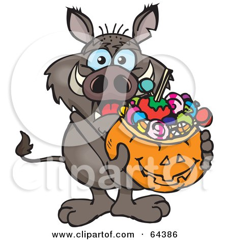 Royalty-Free (RF) Clipart Illustration of a Trick Or Treating Boar Holding A Pumpkin Basket Full Of Halloween Candy by Dennis Holmes Designs