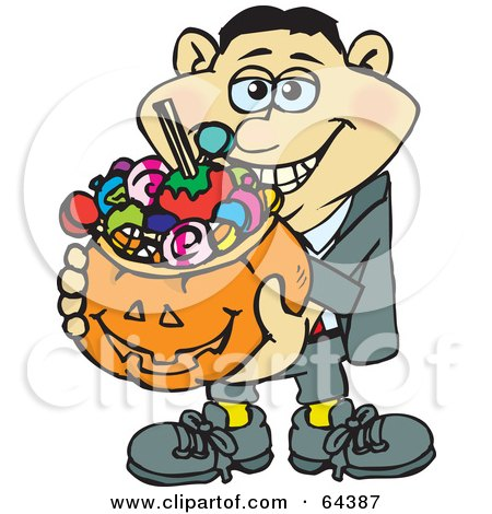 Royalty-Free (RF) Clipart Illustration of a Trick Or Treating Man Holding A Pumpkin Basket Full Of Halloween Candy - Version 2 by Dennis Holmes Designs